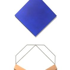 Mehdi Moutashar, Deux carrés dont un encadré (Two squares, one of them framed), 2017, wood, paint, elastic wire.