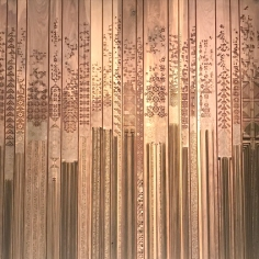 Naqsh collection (nisreen and nermeen abudail), Shawl, 2015 (detail), walnut wood, paint and brass.